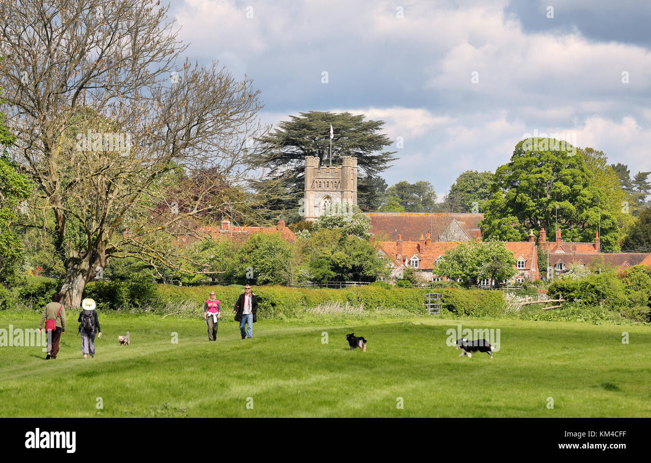 An English Landscape in the Chiltern Hills with the Village of Hambleden Stock Photo