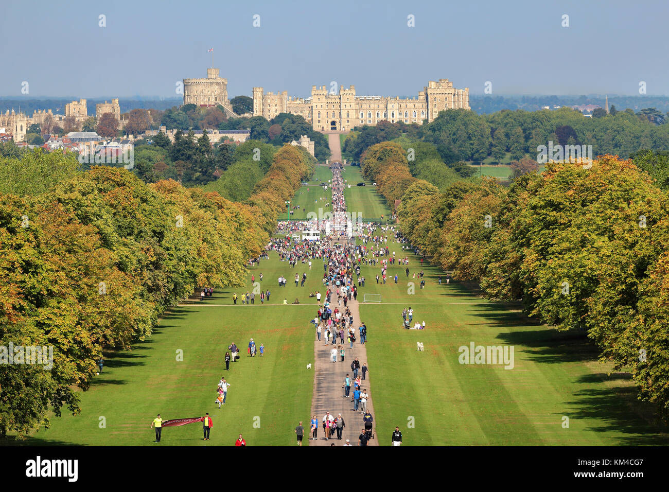 Runners in a Charity Half Marathon in Windsor Great Park, Berkshire with Windsor Castle in the background - Stock Image