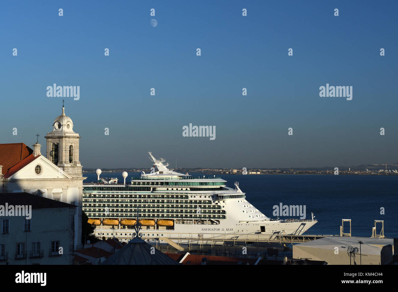 cruise ship on the river tagus;alfama;lisbon;portugal - Stock Image