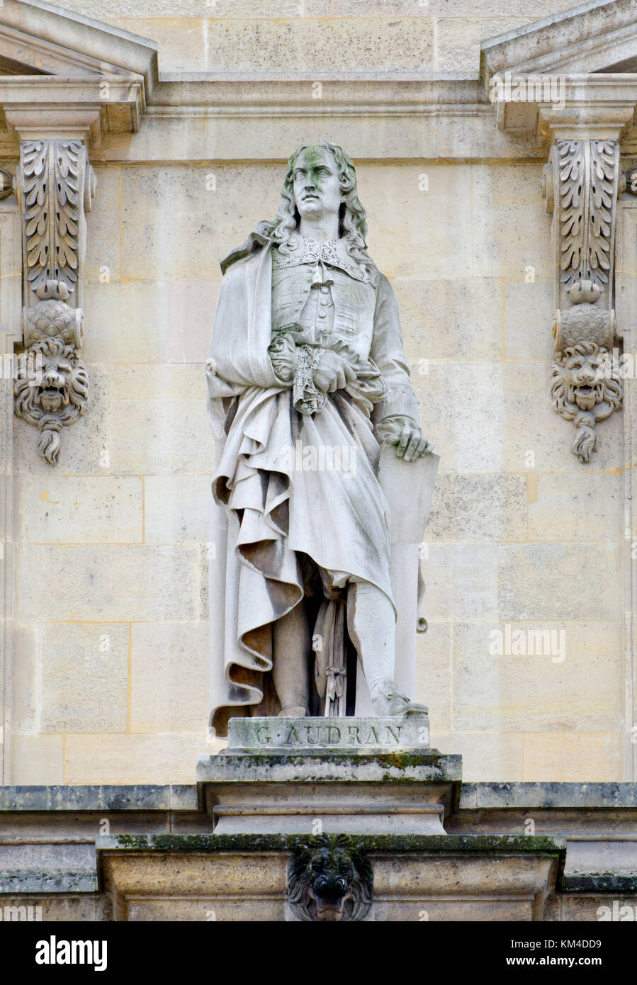 Paris, France. Palais du Louvre. Statue in the Cour Napoleon: Gérard Audran (1640 – 1703), French engraver, - Stock Image
