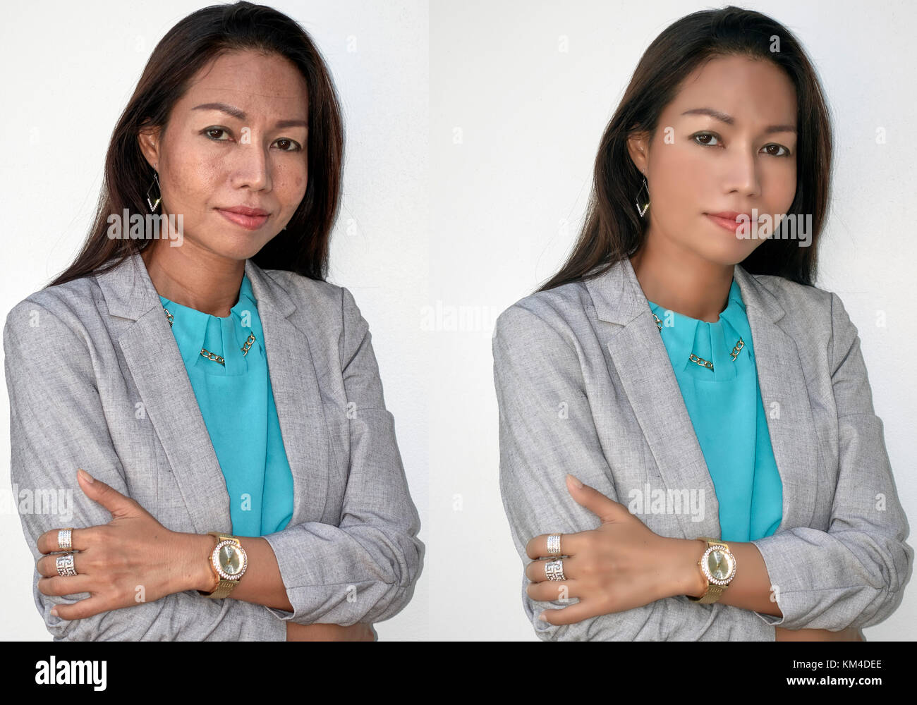 Before and after Photoshop manipulation portrait of a mature 45 year old woman. Digital makeover - Stock Image