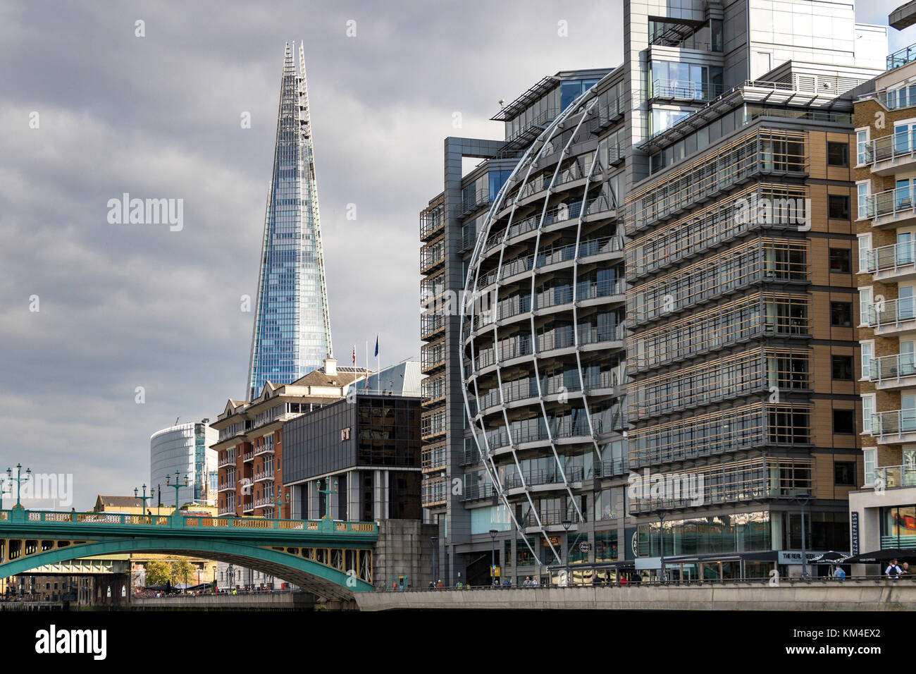 Riverside House , Southwark , with The Shard and Southwark Bridge along the South Bank Of The River Thames , London - Stock Image