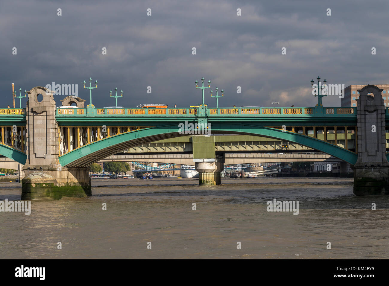Southwark Bridge in The  City Of London , one of several bridges in London crossing The River Thames - Stock Image