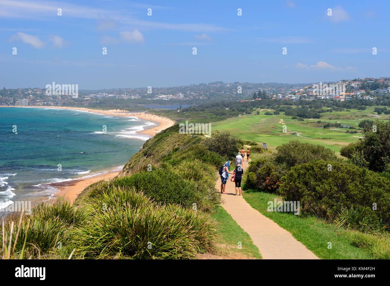 Bicentennial Coastal Walk beside Long Reef Beach at Collaroy, a northern suburb of Sydney, New South Wales, Australia - Stock Image