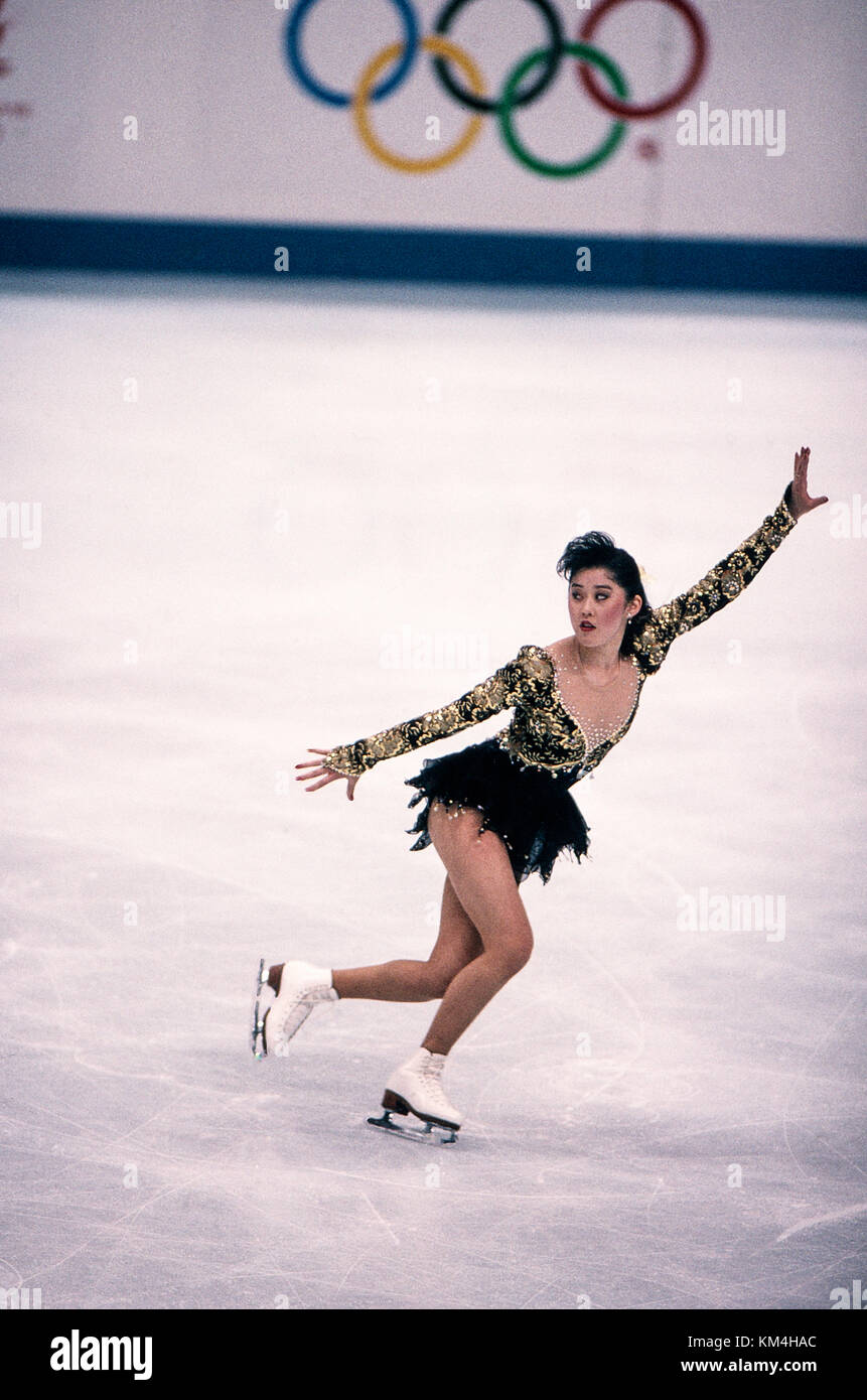 Kristi Yamaguchi (USA) competing at the 1992 Olympic Winter Games. Stock Photo