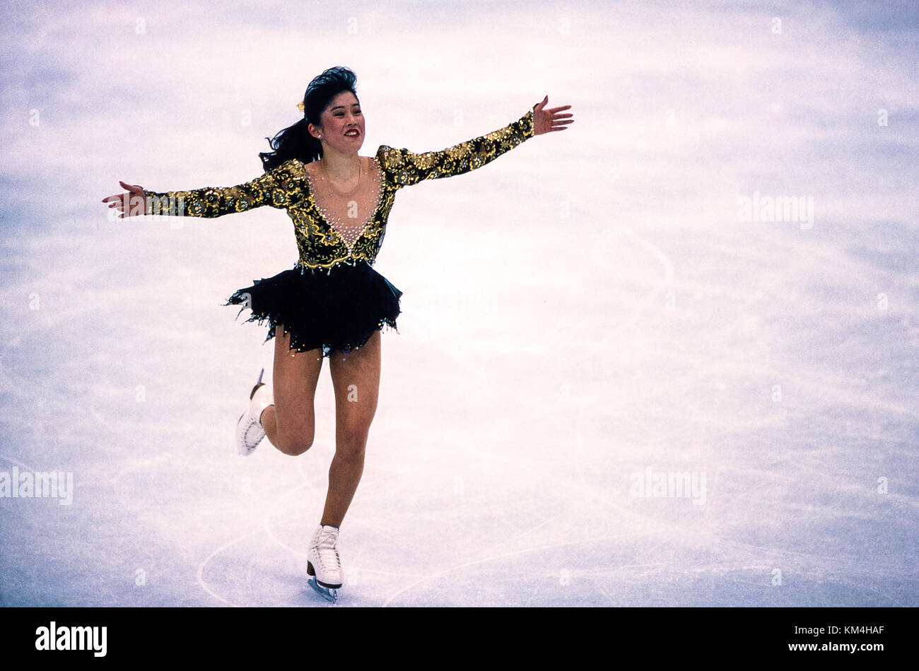 Kristi Yamaguchi (USA) competing at the 1992 Olympic Winter Games. - Stock Image