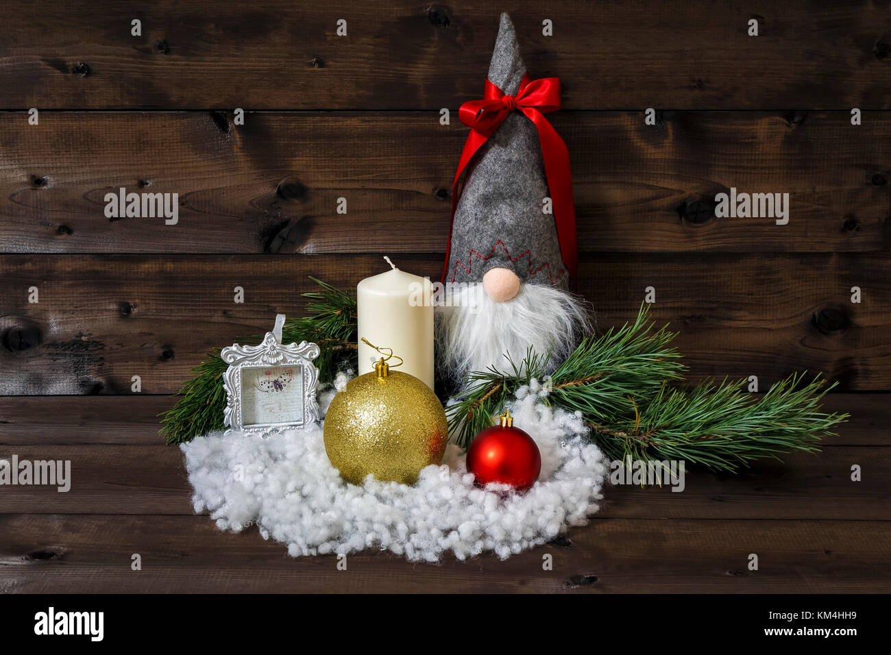 Christmas Decoration With Pine Branches Candle Picture Frame Stock Photo Alamy