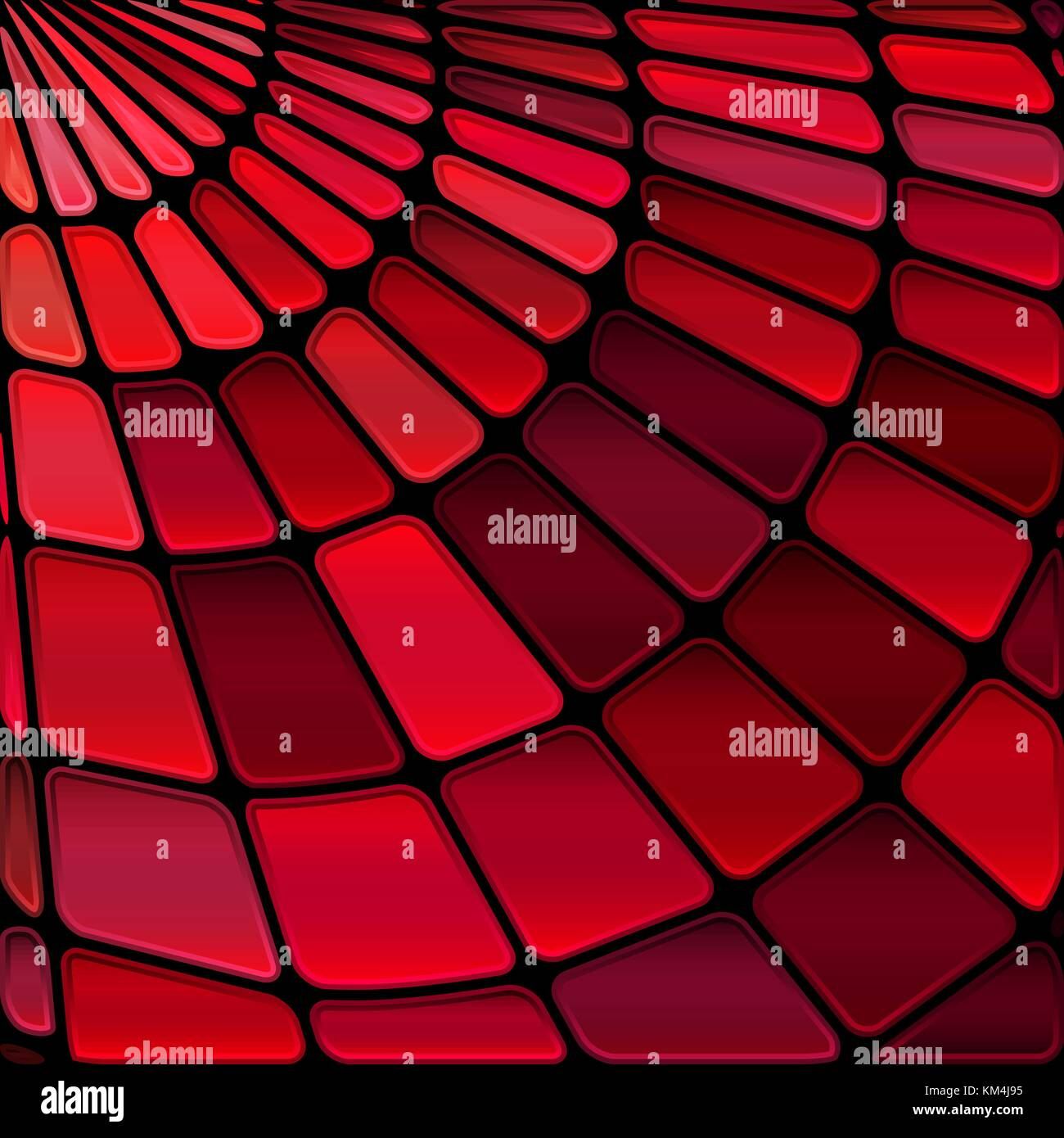 Abstract Vector Stained Glass Mosaic Background Deep Red