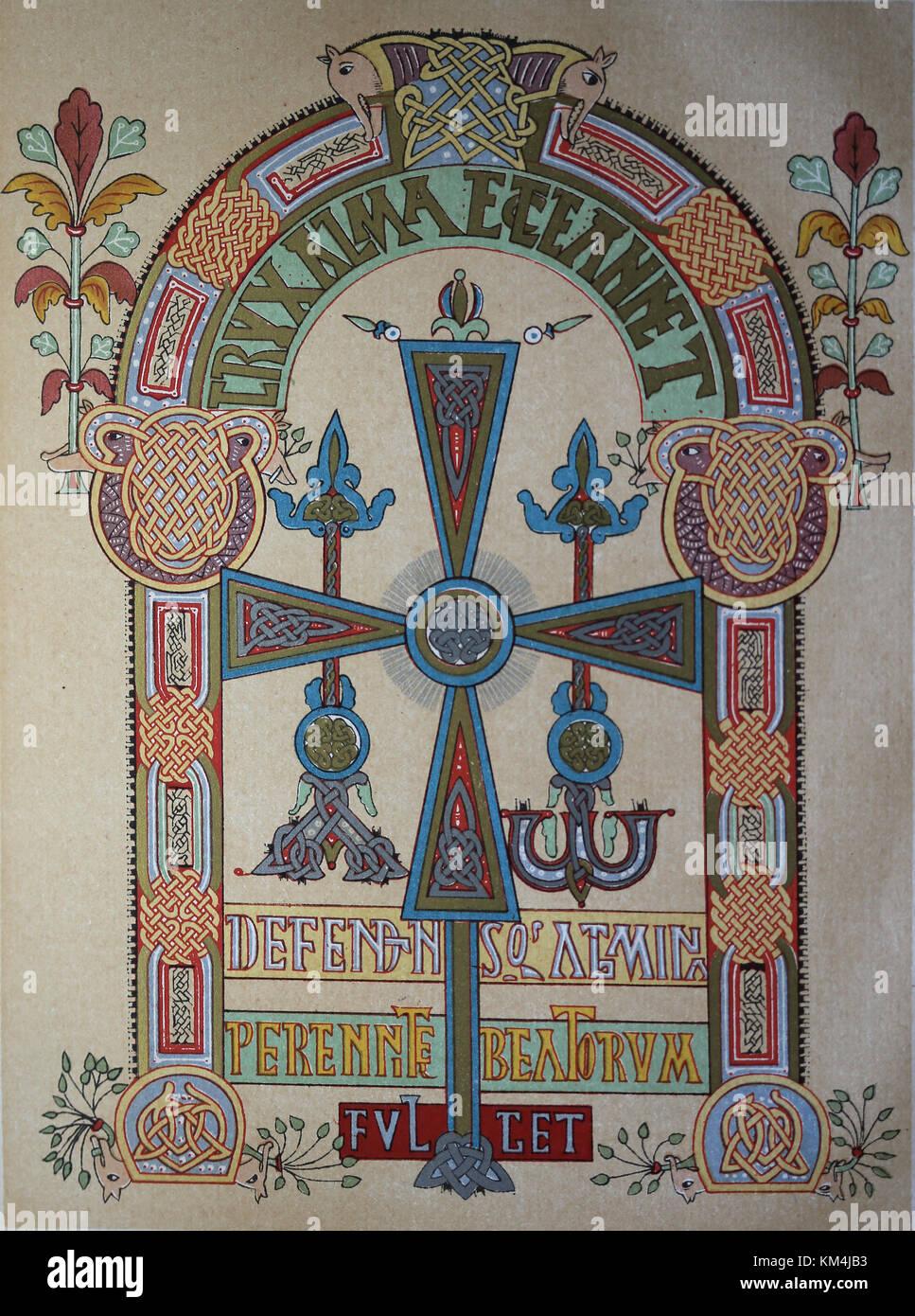 Pre-romanesque and Mozarabas. Codex Vigilanus. Ilustrated version of Chronicon Albeldense, 976. Visigothic cross. - Stock Image