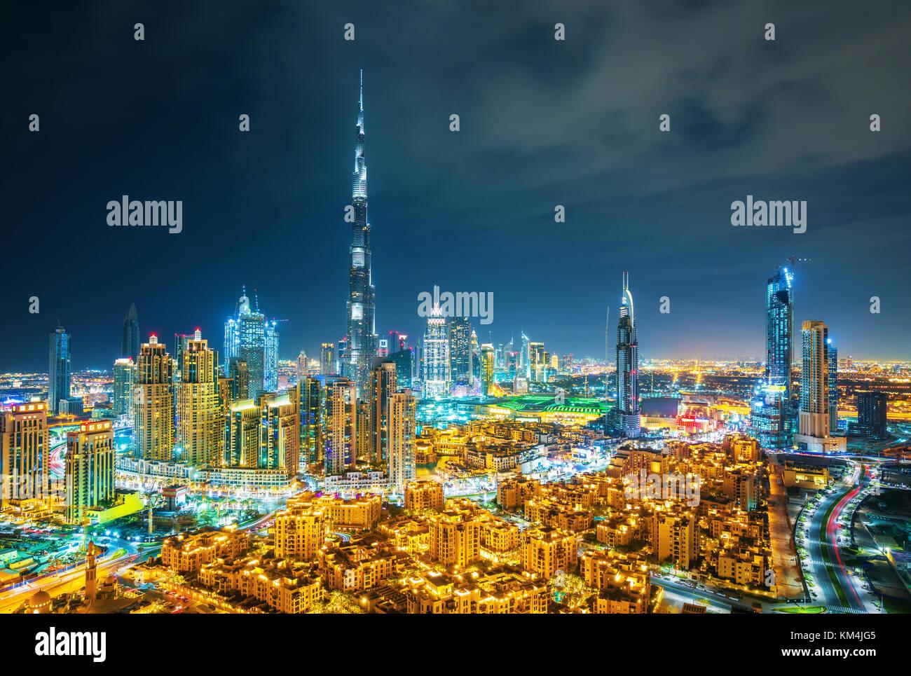 Amazing Dubai skyline with luxury city center, Dubai, United Arab Emirates - Stock Image