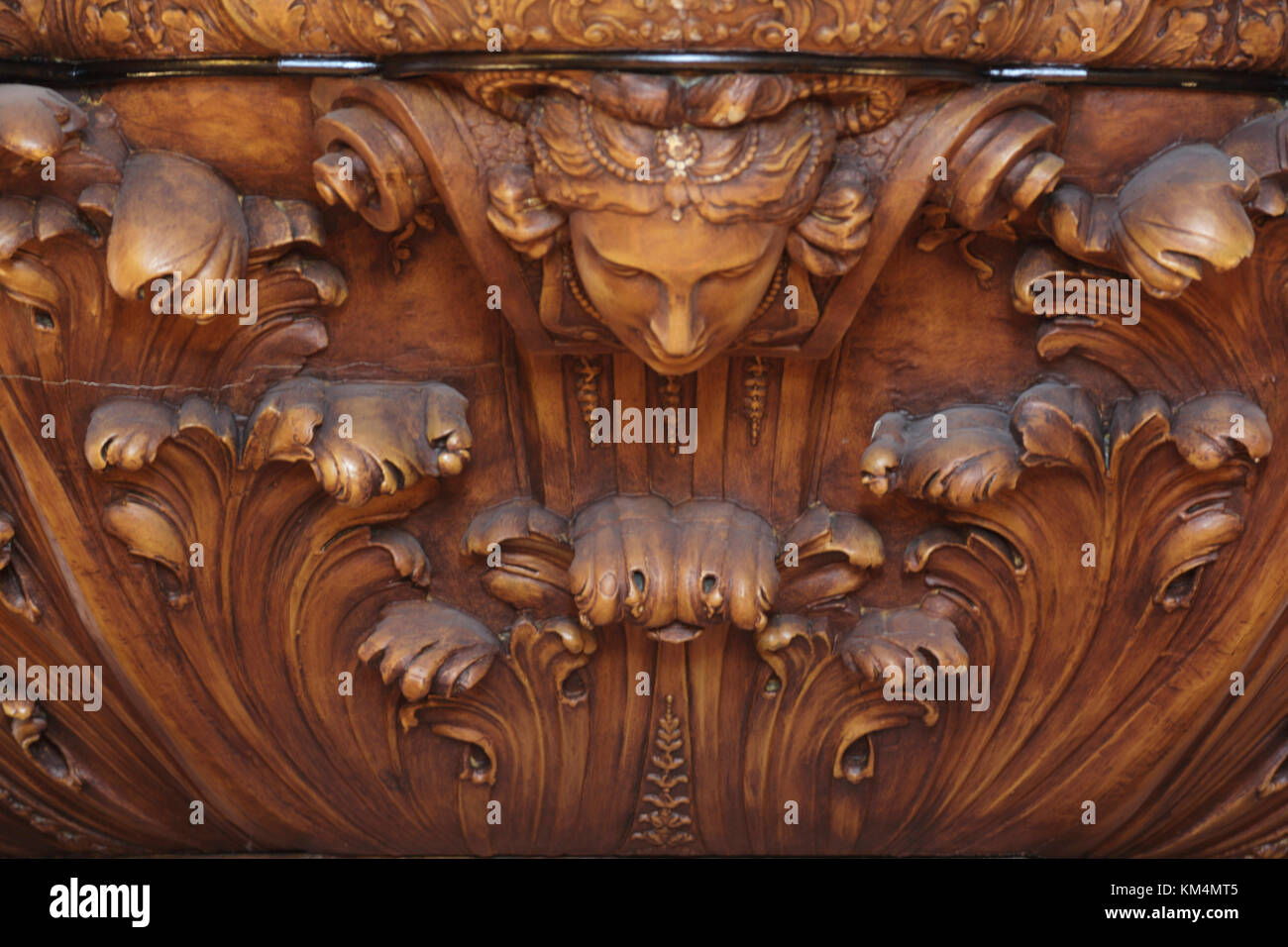 Detail of wood carving below organ. De Rode Hoed Cultural Centre, Amsterdam, Netherlands. Architect: Unknown, 1630. - Stock Image