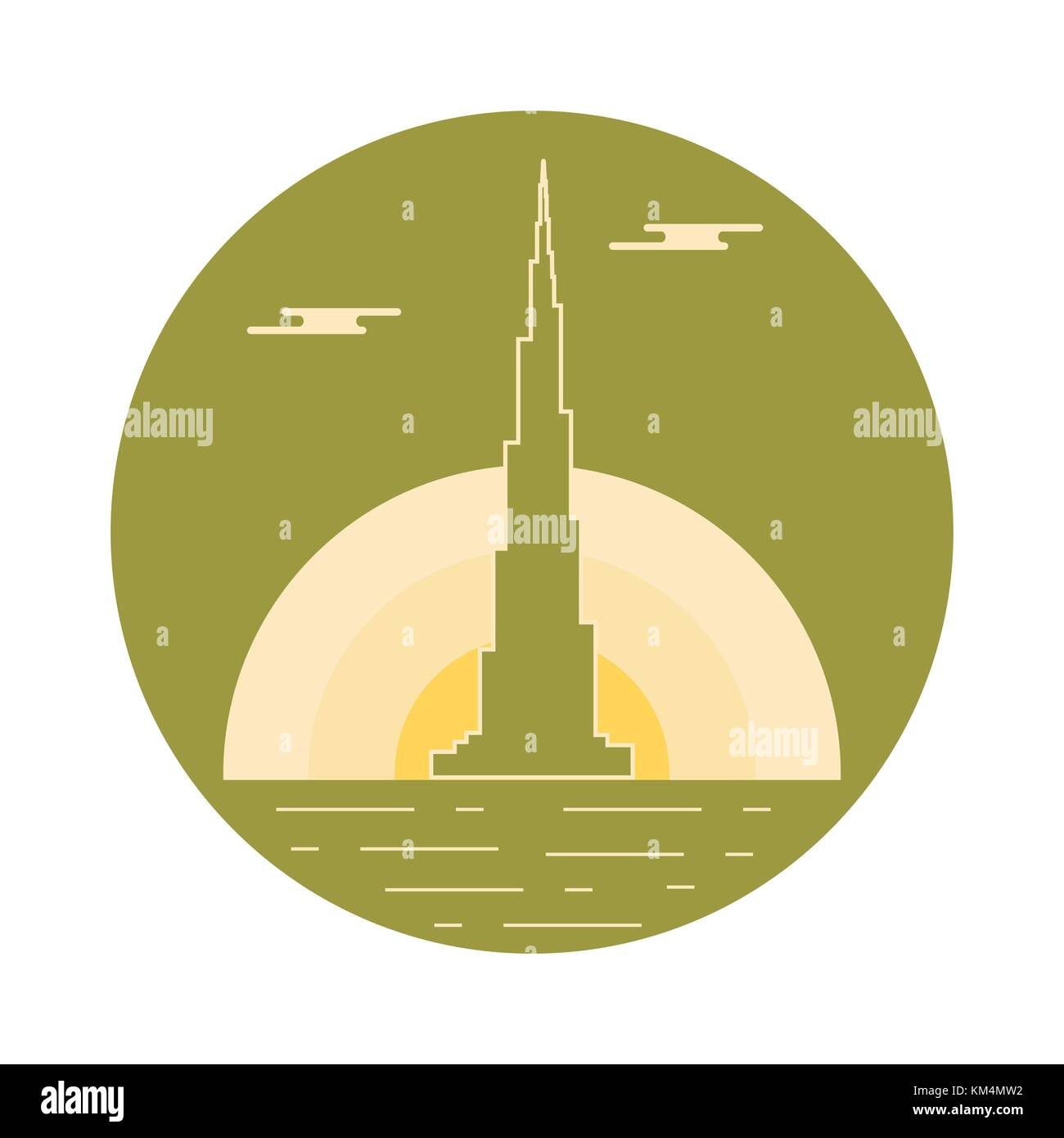 United Arab Emirates skyscraper silhouette. Dubai famous building and symbol. Design for banner, poster or print. - Stock Image