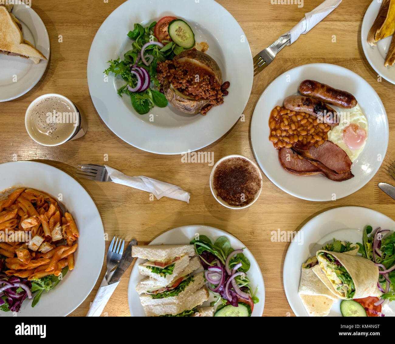 Cafe Food Shot From Above Stock Photo
