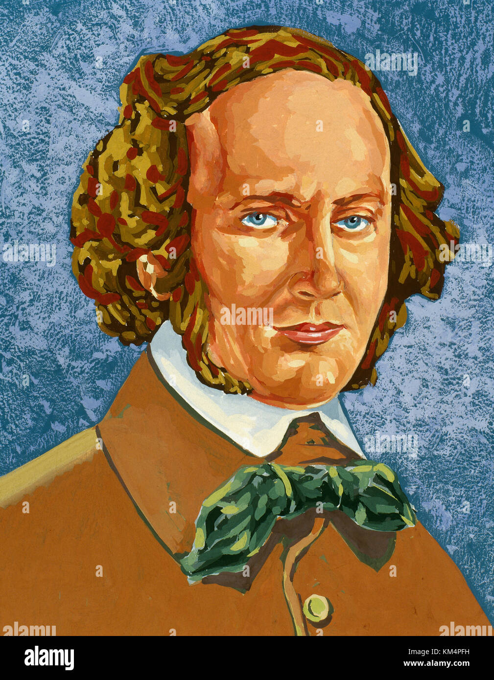 Felix Mendelssohn (1809-1847). German composer and pianist, organist and conductor. Romantic Period. Portrait. Watercolor. - Stock Image