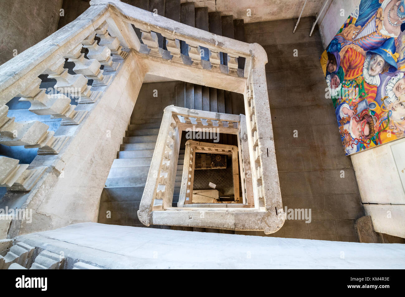 17th Century Stairs in the Abbey of St Pierre, Brantome, Perigord, Dordogne, France, Europe. - Stock Image