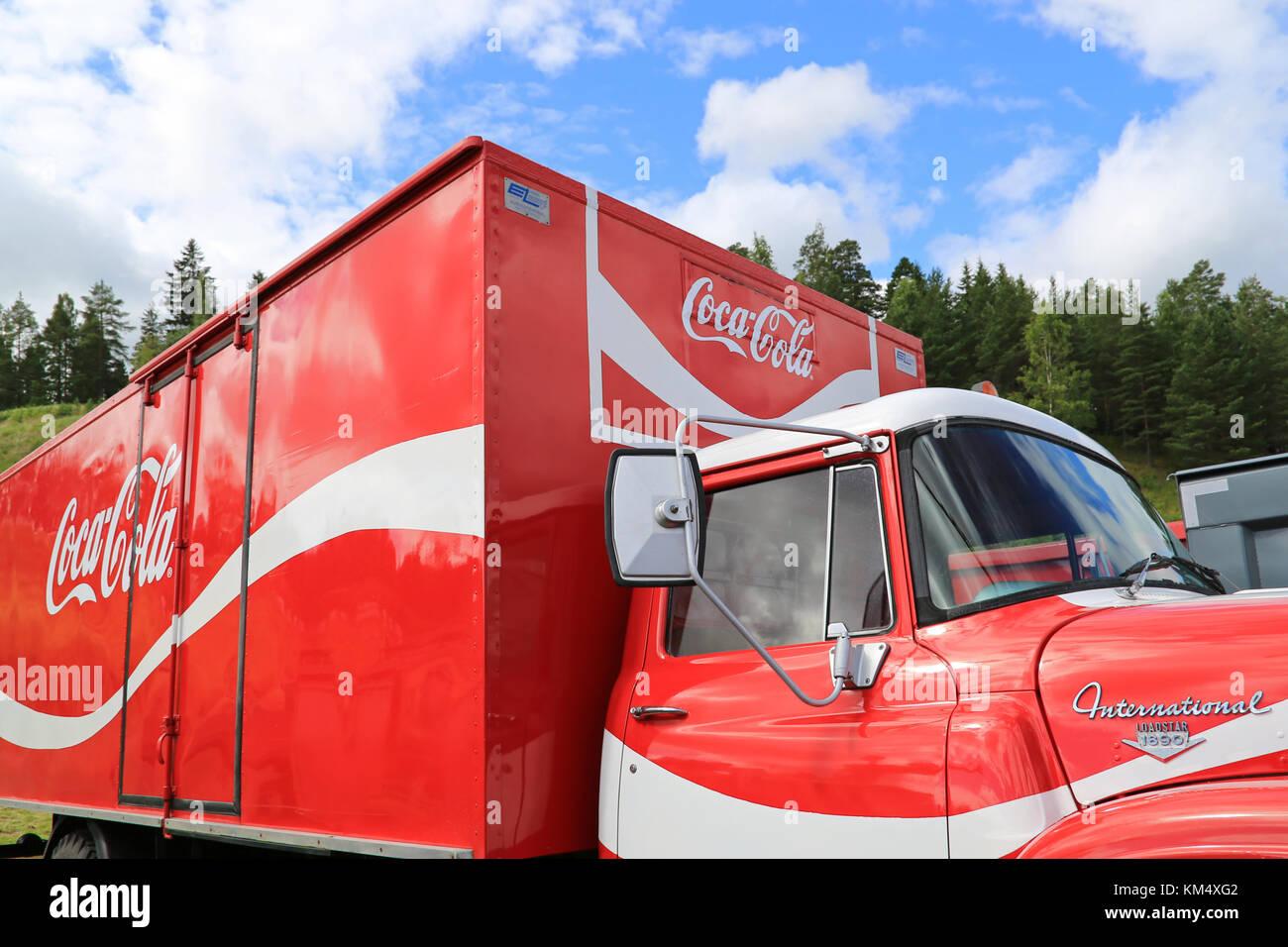 HAMEENLINNA, FINLAND – JULY 11, 2015:  International Loadstar 1890 vintage Coca-Cola truck at Tawastia Truck Weekend Stock Photo