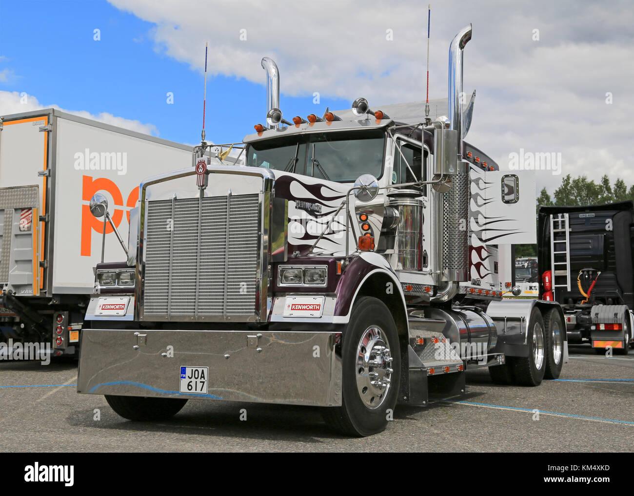 HAMEENLINNA, FINLAND - JULY 11, 2015: Classic Kenworth truck tractor on display at Tawastia Truck Weekend 2015. - Stock Image