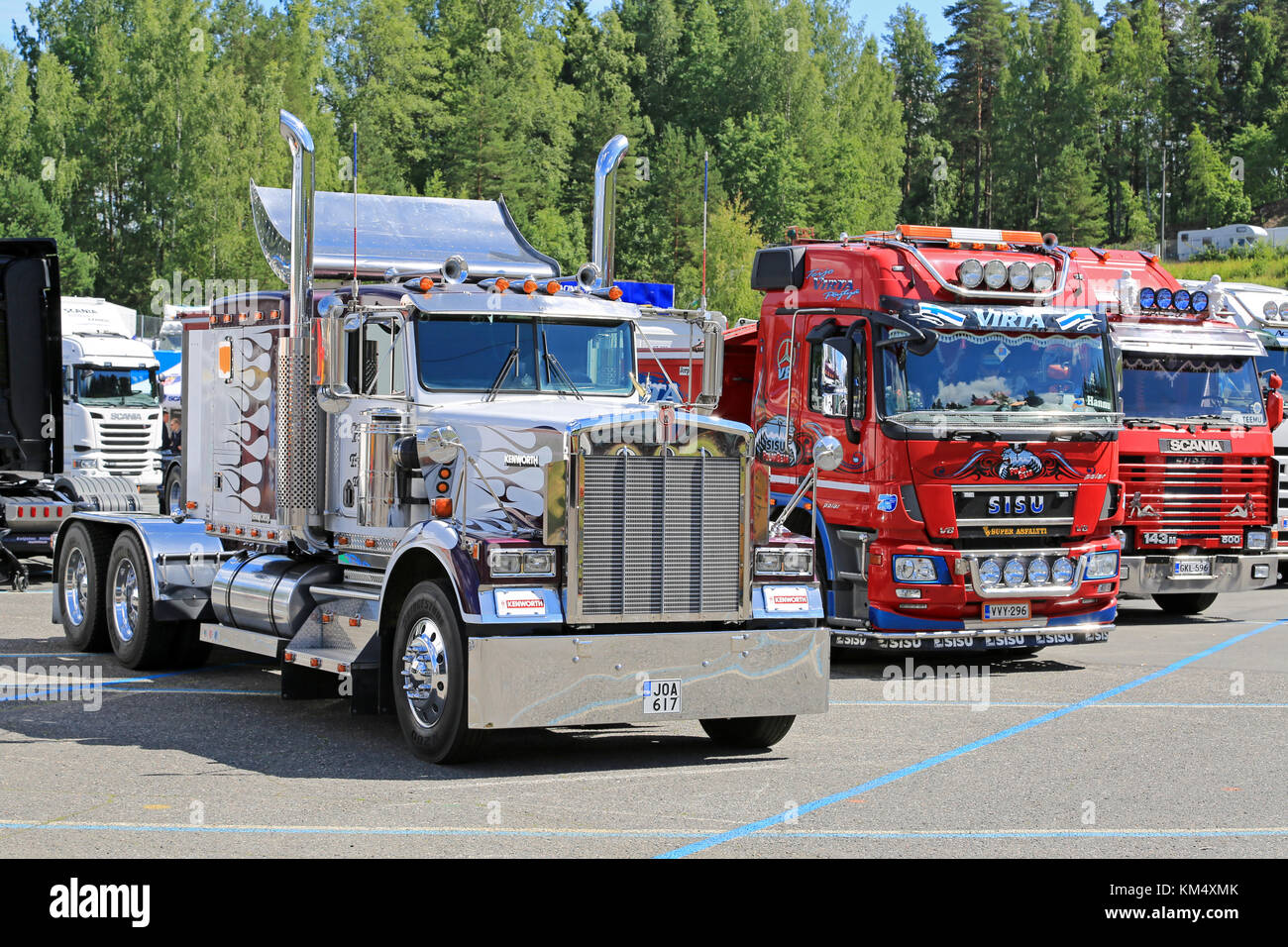 HAMEENLINNA, FINLAND - JULY 11, 2015: Classic Kenworth and Finnish cab over show trucks at Tawastia Truck Weekend - Stock Image