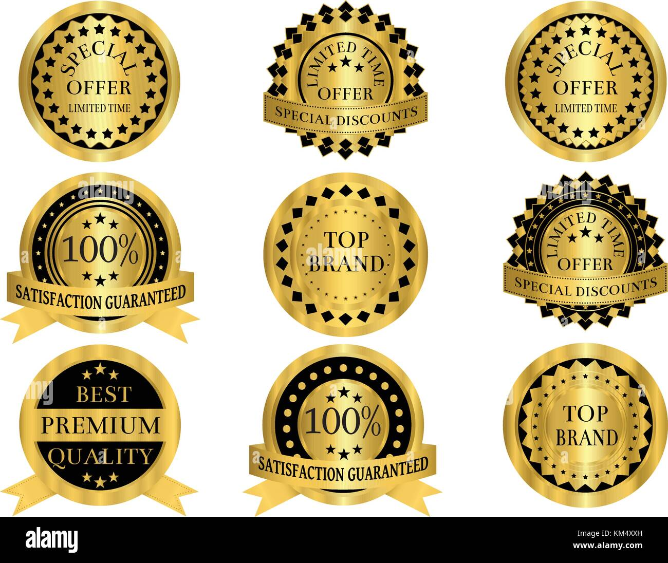 Gold promotion badges that can be used for promotion,discount,sales,marketing,product labels and anything else. - Stock Vector