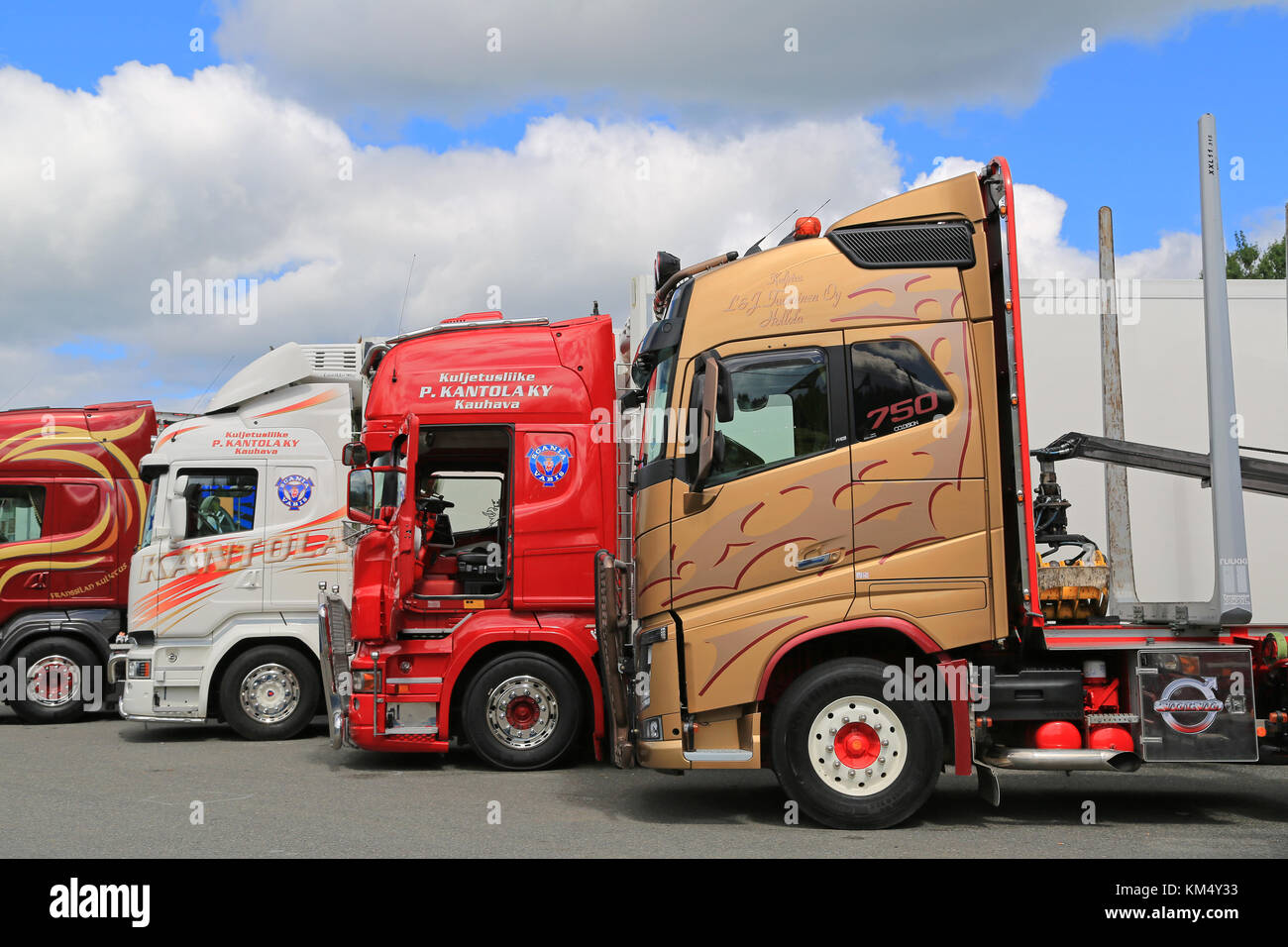 HAMEENLINNA, FINLAND - JULY 11, 2015: Lineup of colorful Volvo and Scania Trucks at Tawastia Truck Weekend 2015. Stock Photo