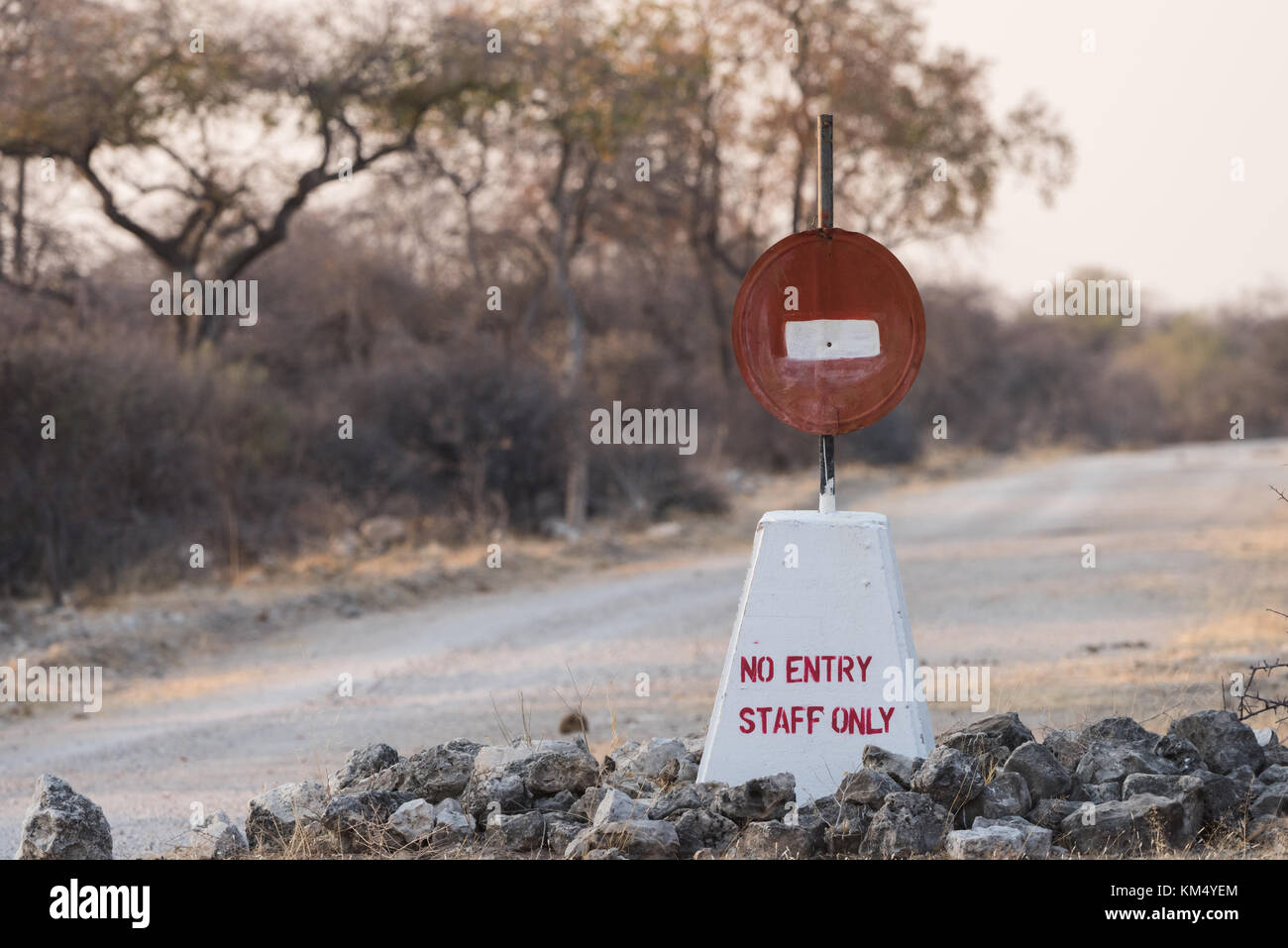 Hand painted no entry sign along road in Etosha National Park, Namibia - Stock Image