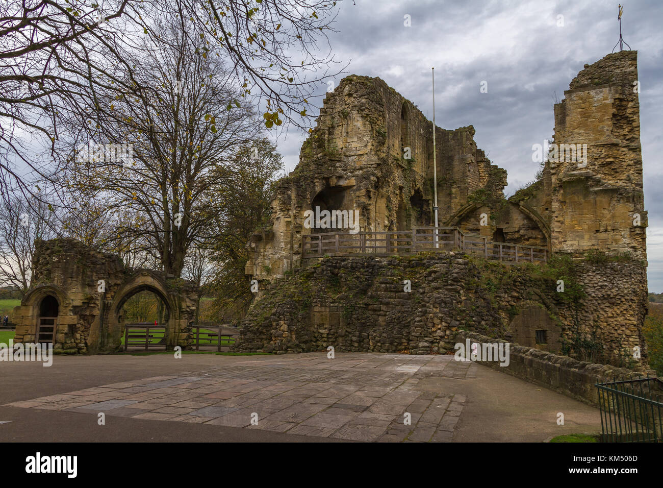 Ruins of Knaresborough Castle keep, destroyed in the English Civil War. Yorkshire, 2017. - Stock Image