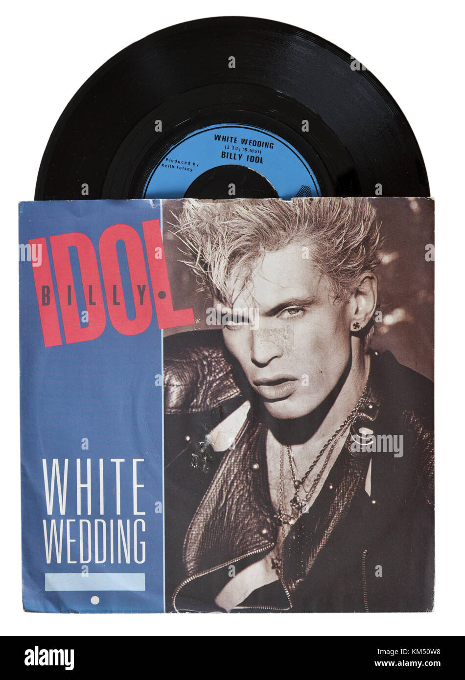 White Wedding Billy Idol.Billy Idol White Wedding Seven Inch Single Stock Photo