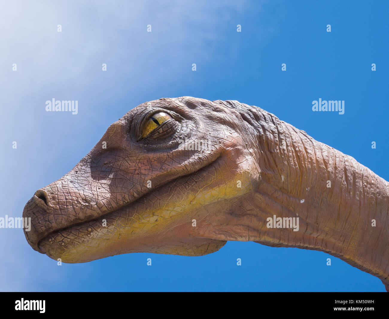 Dinosaur replica near the visitor center, Dinosaur Provincial Park, Alberta, Canada. - Stock Image