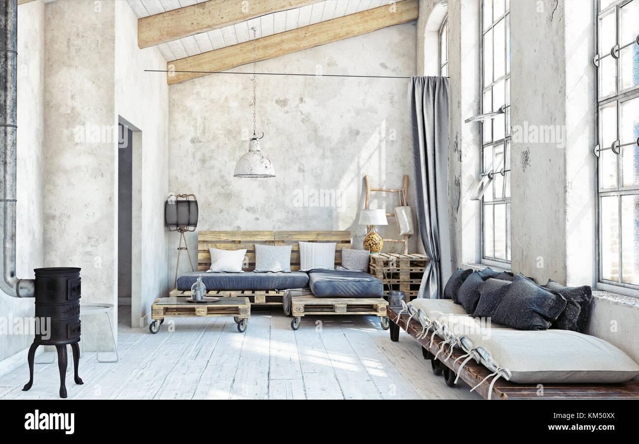 attic living room interior. Pallet furniture .3d illustration Stock ...