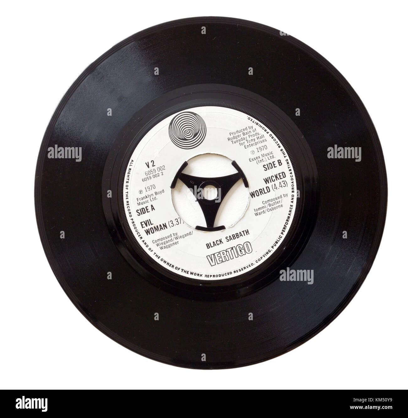 Black Sabbath Evil Woman seven inch single on the Vertigo spiral label - Stock Image