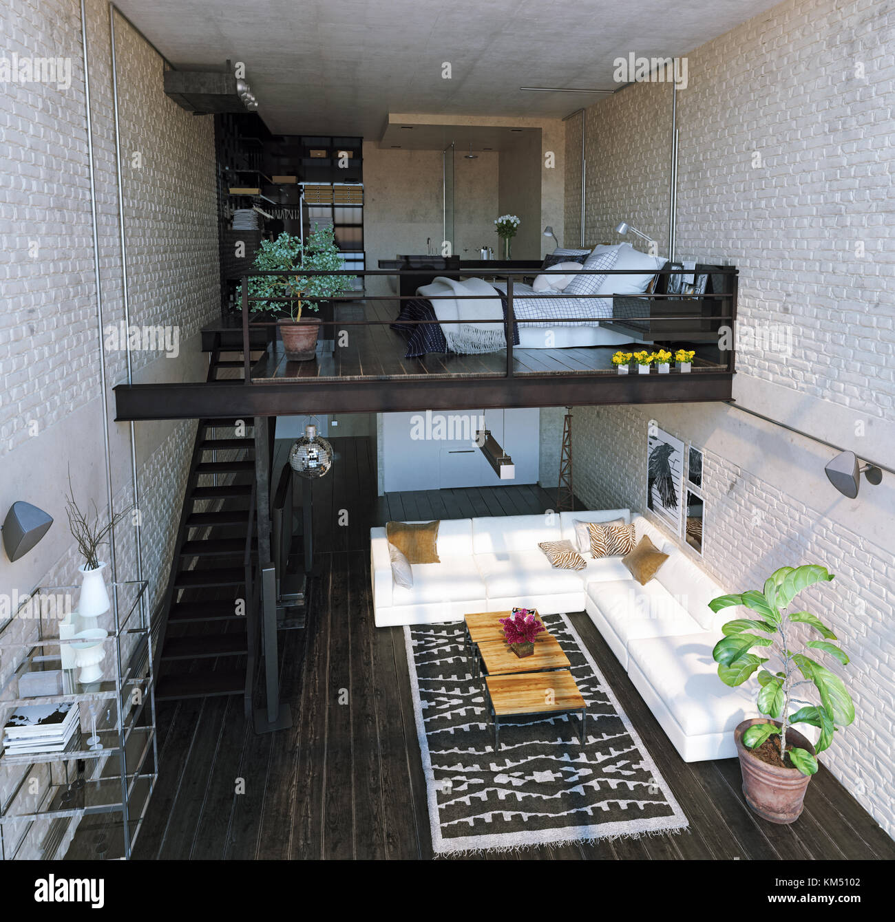 Modern Loft Interior Design. Contemporary Style. 3d ...