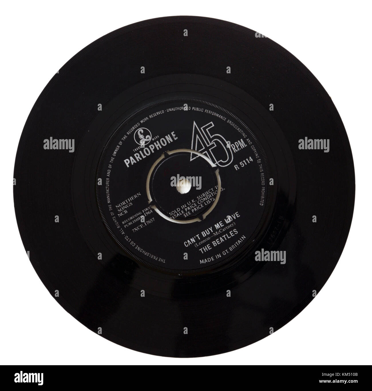 Beatles Can't Buy Me Love seven inch single - Stock Image