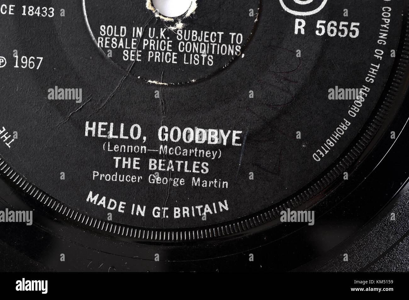 Beatles Hello Goodbye seven inch single label details - Stock Image