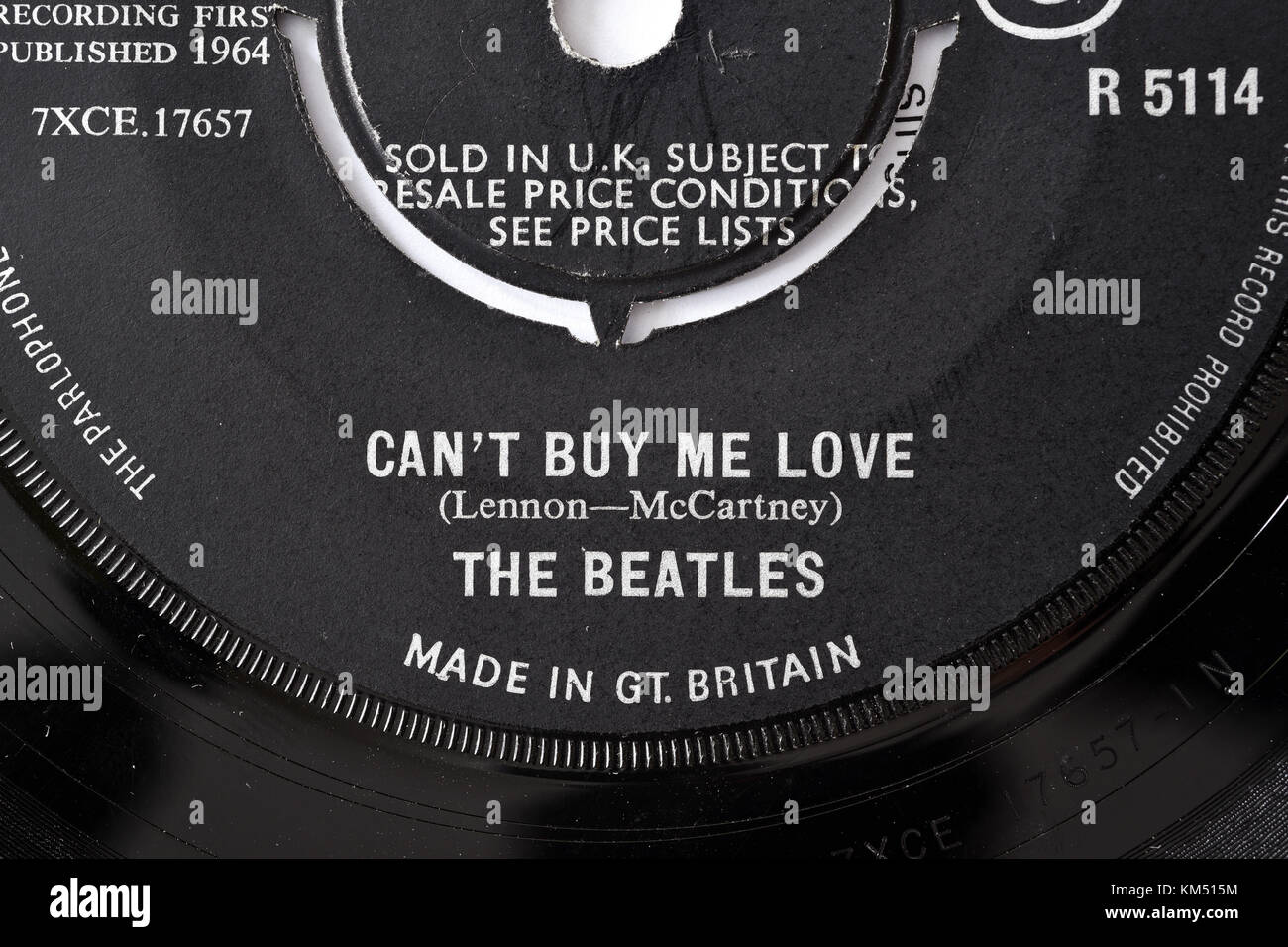 Beatles Can't Buy Me Love seven inch single label details - Stock Image