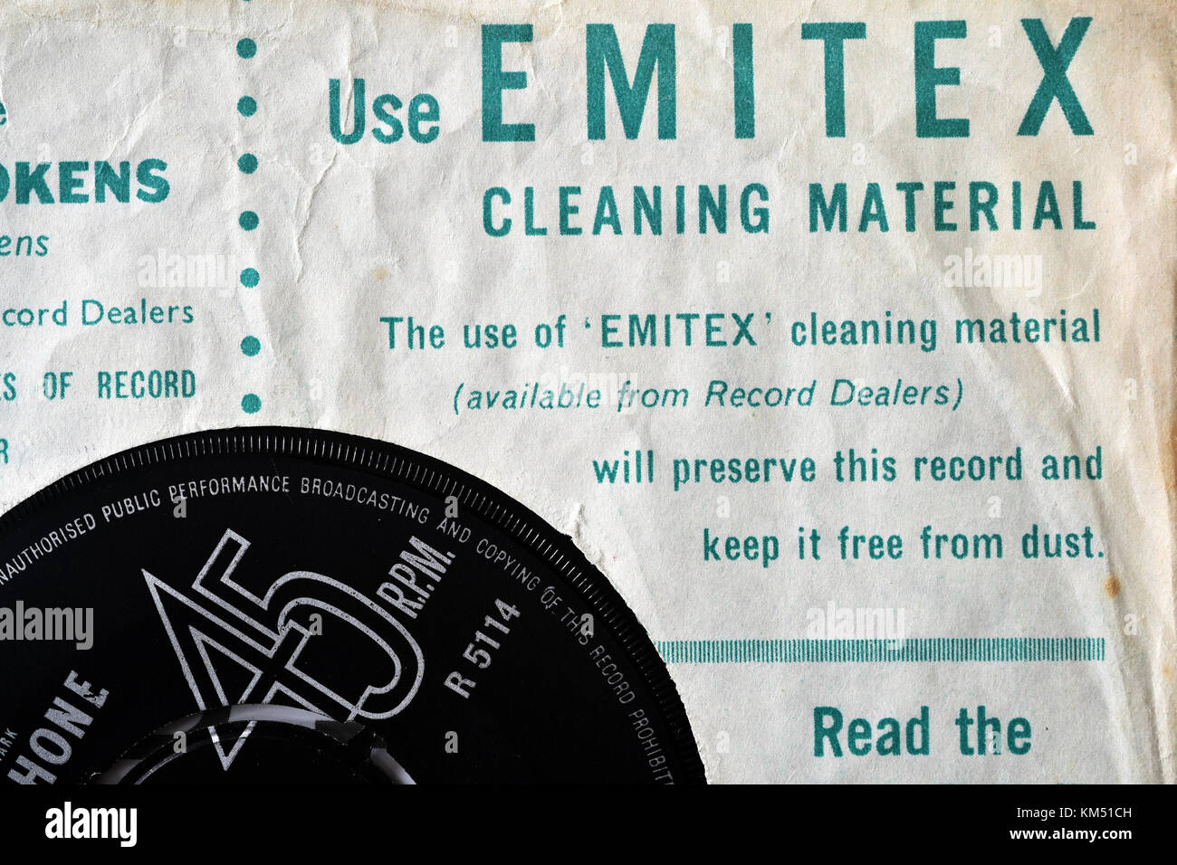 An advert for Emitex record cleaning material on an old record sleeve - Stock Image