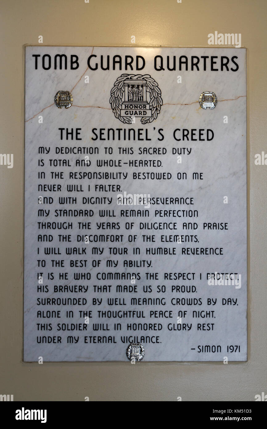 The Sentinel's Creed, on display in the Tomb Guard quarters beside the Tomb of the Unknowns, Arlington National - Stock Image