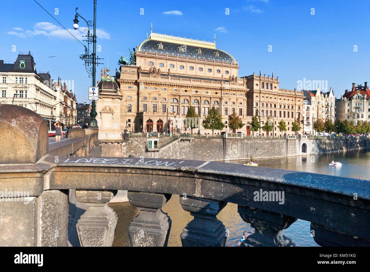 neo-renaissance National theater, Moldau river Old Town (UNESCO), Prague, Czech Republic - Stock Image