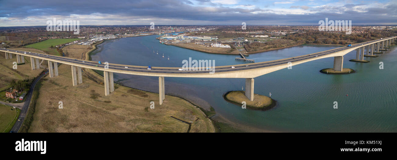 Aerial panoramic view of Bridge spanning the Orwell estuary in Ipswich, Suffolk, UK Stock Photo