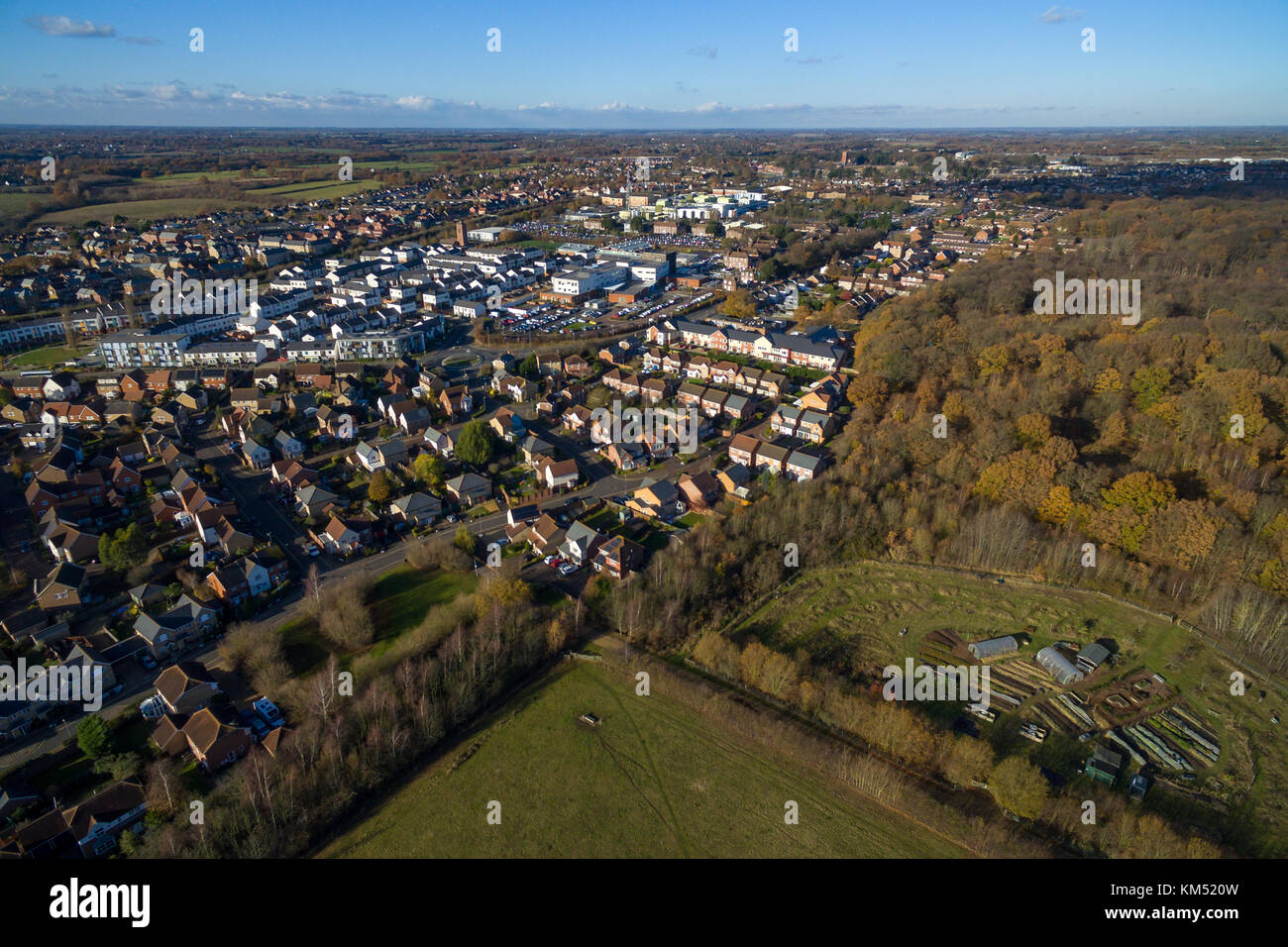 Aerial view of Colchester General Hospital and site of former Severalls hospital in North Colchester Essex, UK - Stock Image