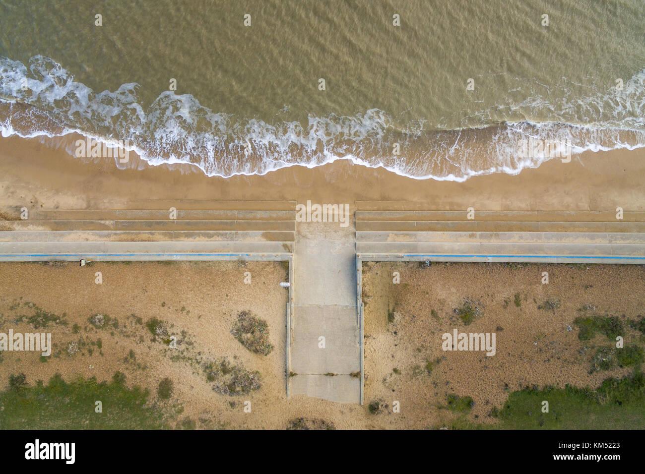 Aerial view of beach at Felixstowe, Suffolk, UK - Stock Image