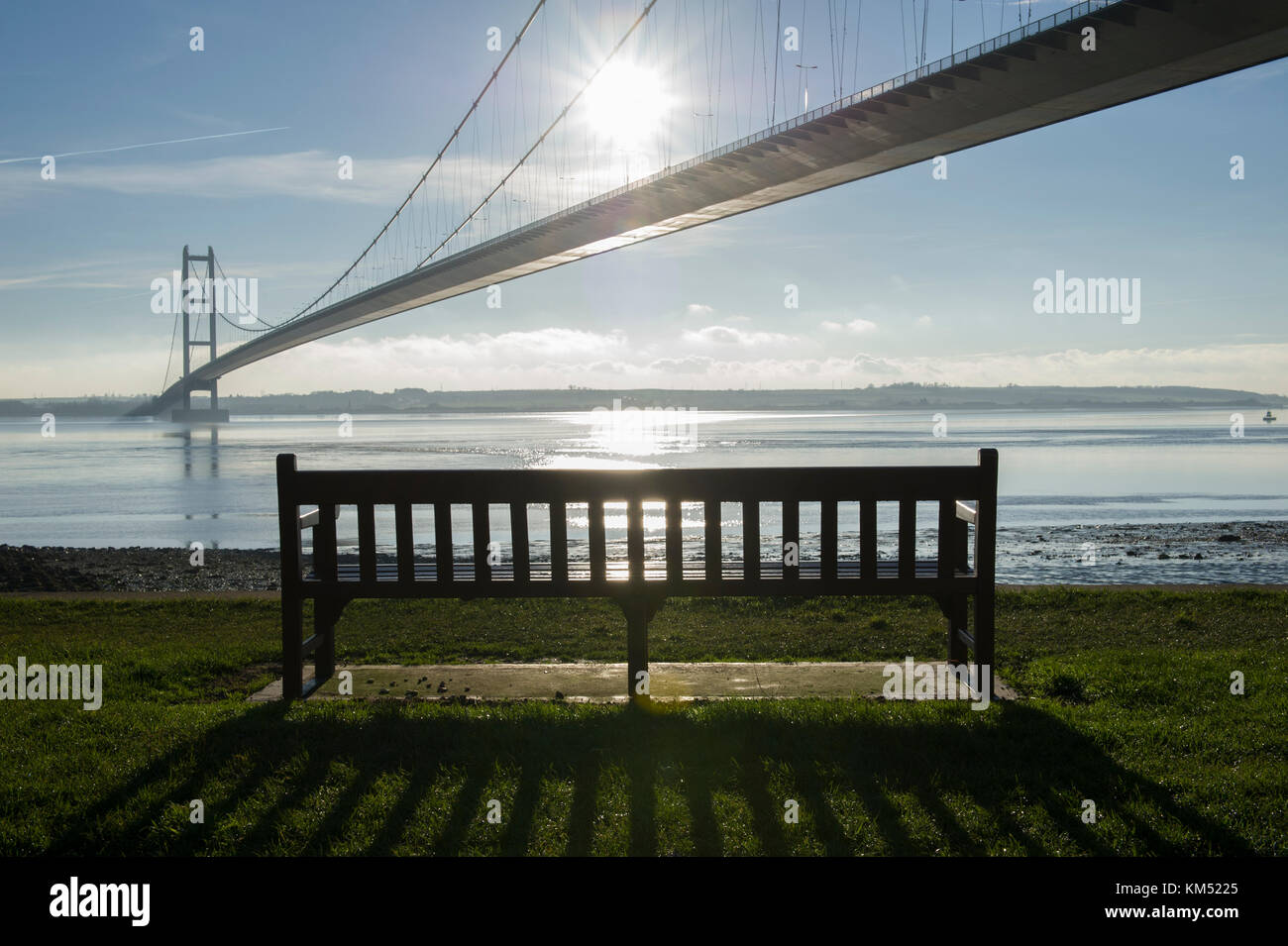The Humber Bridge near Hull is a single span suspension bridge over the Humber estuary connecting East Yorkshire Stock Photo