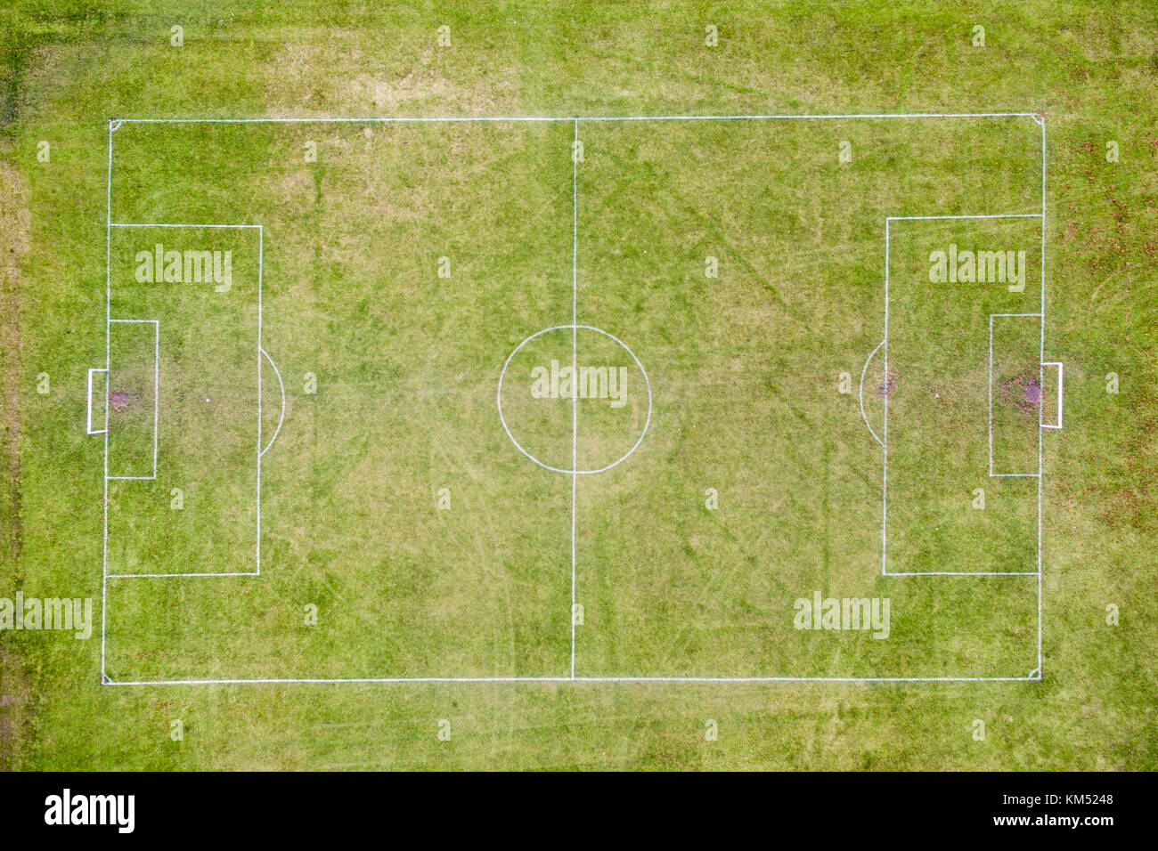 overhead aerial view of football pitch layout - Stock Image