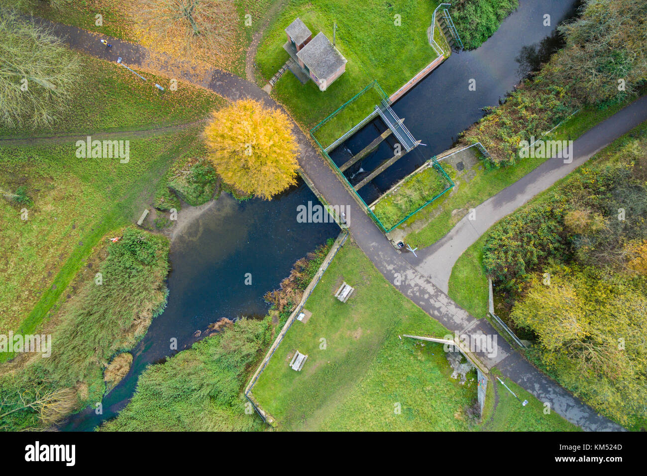 Aerial view of sluice gate in a park - Stock Image