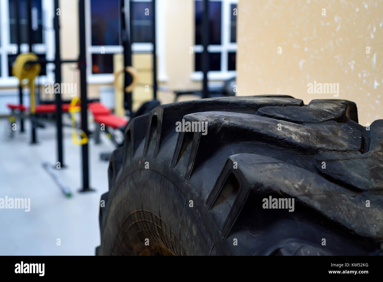 Workout gym for crossfit and body buildiing - Stock Image