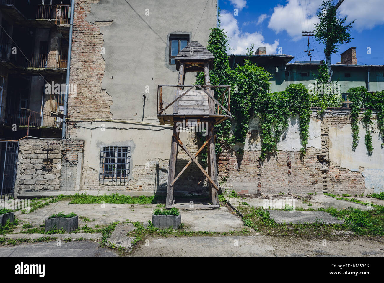 Courtyard of Historical and Memorial Museum of Political Prisoners in Ternopil city, administrative center of Ternopil - Stock Image
