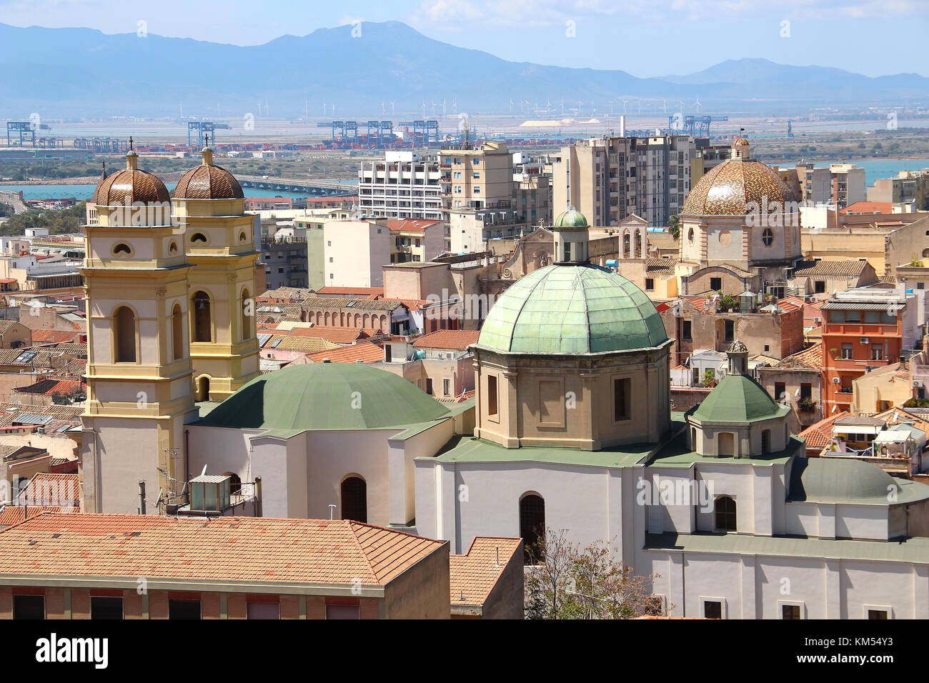 Churches un Cagliari old town, Sardinia, Italy - Stock Image