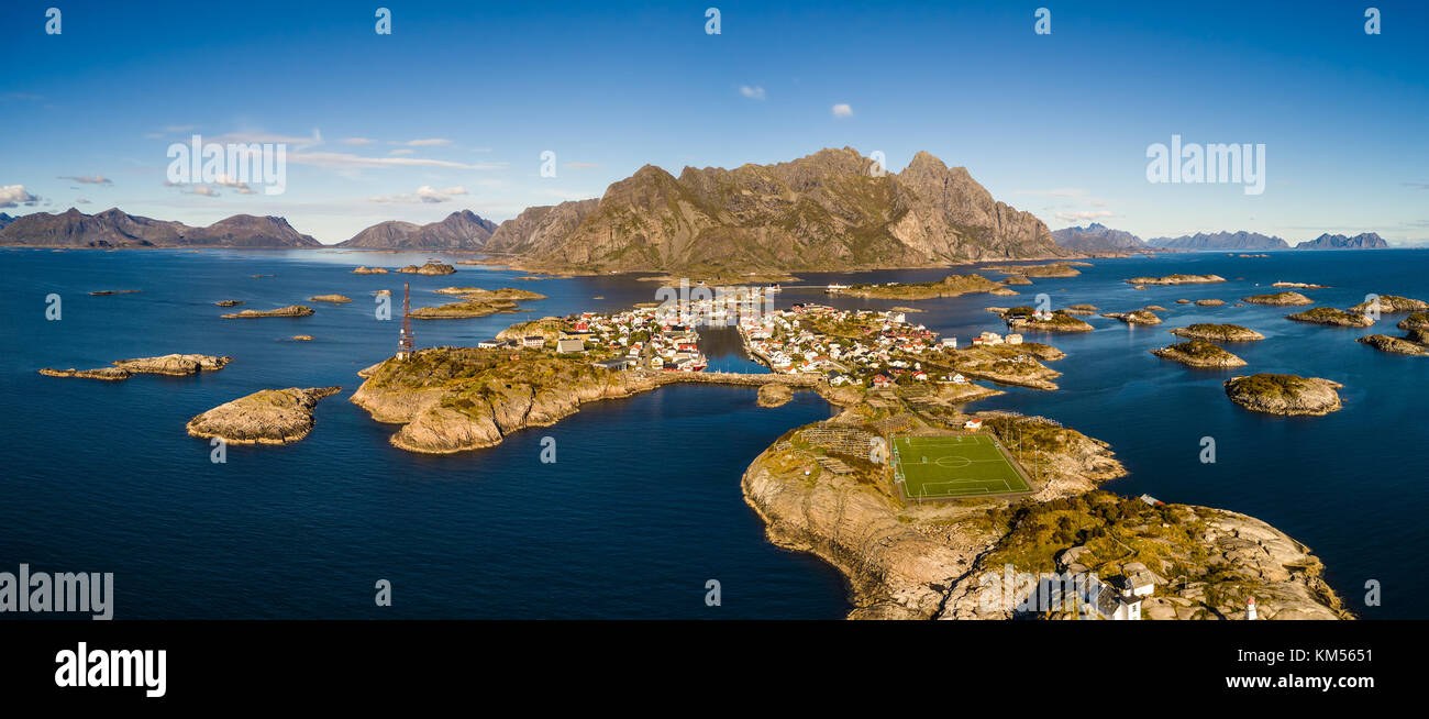 Henningsvaer fishing village on Lofoten islands from above - Stock Image