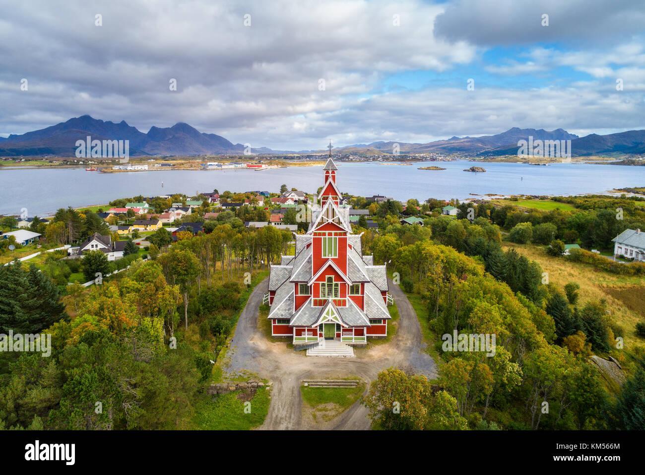 Buksnes Church in the village of Gravdal on Lofoten islands - Stock Image