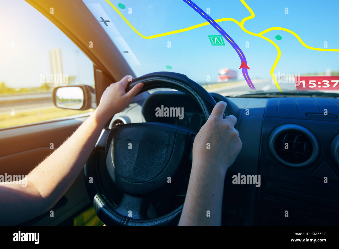 GPS (Global Positioning System) car navigation, help and assistance with direction on road - Stock Image