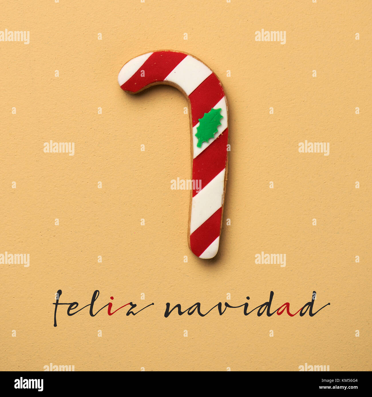 a coloroful cookie in the shape of a candy cane and the text feliz navidad, merry christmas in spanish, on an orange - Stock Image